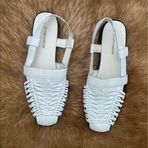 Naturalizer white leather woven summer sandals